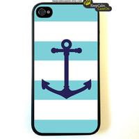 Iphone 4 Case Aqua Nautical Stripes Pattern by KeepCalmCaseOn