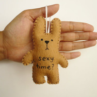 $14.00 Christmas ornament funny bunny Sexy time by TheOffbeatBear