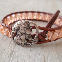 Bohemian leather bracelet 'Flower Child' peach blush by slashKnots