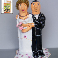 Bride & Groom Black and White ornamental SCULPTURE by RecycoolArt