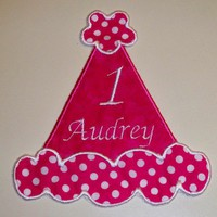 Hot pink with dots birthday party hat applique iron on patch | UniqueEmbroideries - Accessories on ArtFire