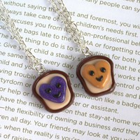 Handmade Heart Peanut Butter and Jelly Best Friends Necklaces