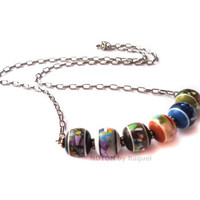 Short Necklace with Six Multicolor Beads by NOTONbyRaquel on Etsy