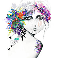 Exotic Girl // A3 Giclée print by hollysharpe on Etsy