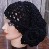 Black Crochet Couture Lace Beanie Rasta by strawberrycouture