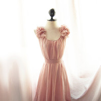 Romantic Angel Peach Blush Pink Petal Dress Soft by RiverOfRomansk
