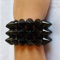 Black Spike Triple Studded Bracelet Jewellery by NiceStuds on Etsy