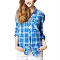 Blue Oversized Flannel Shirt - Blue Multi