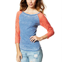Lace Long-Sleeve Raglan -