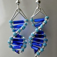 Skinny Blue Genes  DNA earrings by toutdoucement on Etsy