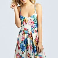 Tamzin Strappy Floral Skater Dress