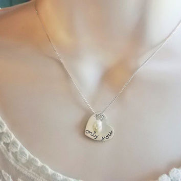 Only You engraved heart necklace, sterling engraved heart necklace, freshwater pearl charm, starting at $28.00 multiple lengths