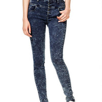 Skylar High-Rise Skinny Jeans in Thunderstorm Acid - Dark Acid
