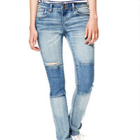 Jayden Mid-Rise Skinny Jeans in Light Indigo with Knee Patches