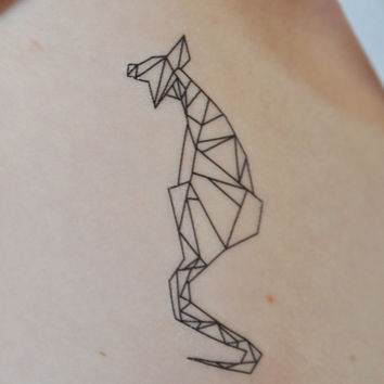 Geometric Cat Temporary Tattoo, Tattoo Temporary, Black, Modern Art, Animal Temporary Tattoo, Birthday Present, Birthday Gift, Cat Art