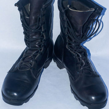 Vintage 1987 PJ 8 87 Cold War Era Leather Military Combat Boots/Men's 9.5 W