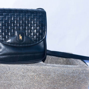 Hartmann by Lombardo Vintage Black leather Woven Satchel/Crossbody Bag Purse.