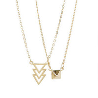 Pyramid & Layered Triangle 2-Pack Necklace Set