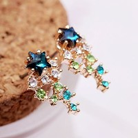 Colorful Meteor Shower Rhinestone Earrings
