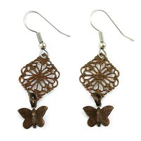 Surgical Steel and Brass Dangle Earrings Filigree Butterfly