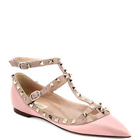 Valentino: Leather Rockstud Cage Flats