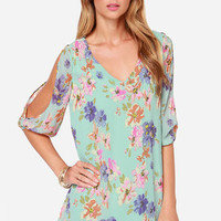Let's Van Gogh Out Mint Floral Print Dress