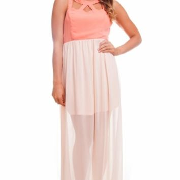 Peach Candy Cutout Maxi Dress