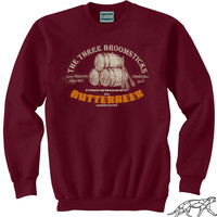Harry Potter BUTTERBEER SWEATSHIRT UNISEX for Men or Women or Hogwarts Alumni or Even Muggles. Soft 90% Cotton Fleece Burgundy Sweater