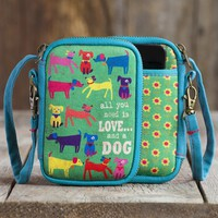 Love And A Dog Neoprene Wristlet