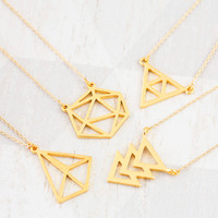 18k Gold Geometric Necklace