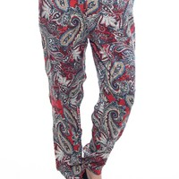 Jaunty Journey Paisley Print Jogger Pants - Red