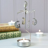 Rotating Cat And Moon Tealight Holder