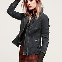 Free People Womens Denim Blazer With Buckles - Black,