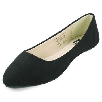 Women's Loafer Shoes Micro Suede Comfort Flats Pointed Toe Real Suede Interior