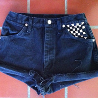 Custom High Waisted Denim Shorts with Studs by LindsayLouVintage
