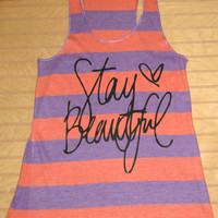 Ladies' Meegs Eco Jersey Stripe Racer Tank Top Stay Beautiful
