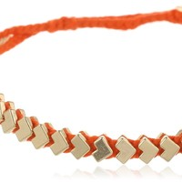 Ettika Gold-Tone Chevron and Braided Cotton Adjustable Bracelet, 7""