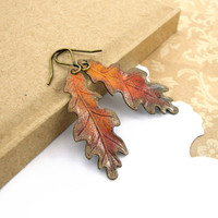 Hand Patinated Autumn Earrings - Oak Leaf Earrings - Antique Vintage Style Brass Patina Earrings - Handmade Fall Earrings Autumn Jewelry