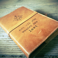 leather journal hand-printed custom for you not all who wander are lost