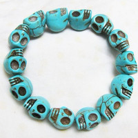 blue Turquoise skull bracelet Day of the by sweethearteverybody