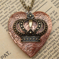 Steampunk Crown Locket Necklace Vintage Style by sallydesign
