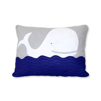 Blue Whale Pillow Cover by ekofabrik on Etsy