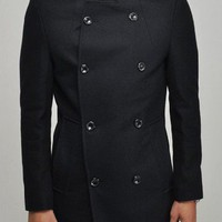 Slim Double Breasted Solid Wool Mens Overcoat