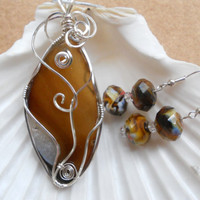 Brown Agate Pendant & Earrings by elainesgems on Etsy