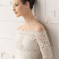 Buy discount Fabulous Satin & Organza Satin  A-Line Strapless  Neckline Wedding Dress  With  Beadings & Lace Appliques at dressilyme.com