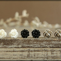 Flower Earring Studs Trio White Rose Black by saffronandsaege