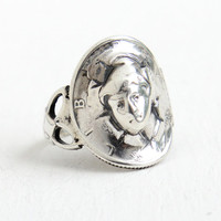 Antique Sterling Silver Mercury Dime Coin Ring - Art Deco Size 6 1/4 Filigree Pop Up Out Repousse Cameo Jewelry
