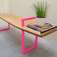 Contemporary Wood + Metal Bench
