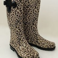 New Women's Wellies Flat Snow & Rain Boots Rainboots - Leopard, Size 5-10