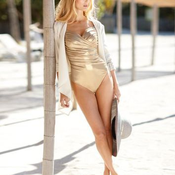 Metallic One-Piece Swimsuit at Newport-News.com